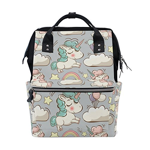 ALIREA Unicorn Patern Diaper Bag Backpack, Large Capacity Mu