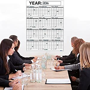 Best OVERSIZED 12 MONTH Dry Erase Wall Calendar Planner & Organizer 3 x 4 ft Vertical Laminated Dry or Wet Erase to Plan Your Whole YEAR - Perfect Sales Planning Office Conference Room Teachers