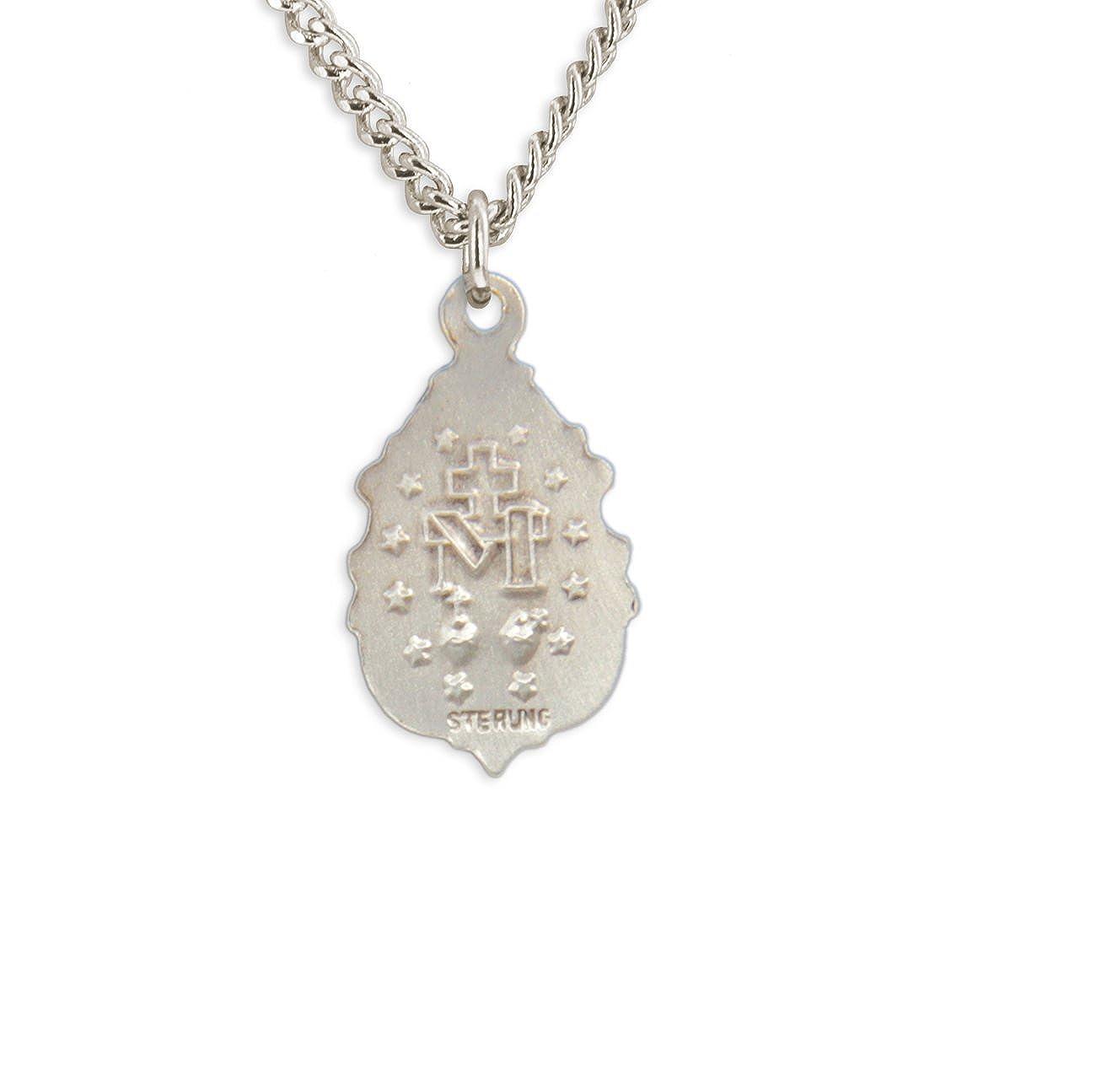 Heartland Store Womens Sterling Silver Fleur-de-lis Teardrop Miraculous Pendant Choose Chain USA Made