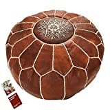 bohemian living room Marrakesh Gallery Moroccan Pouf - Genuine Goatskin leather - Bohemian Living Room Decor - Hassock & Ottoman Footstool - Round & Large Ottoman Pouf - Unstuffed - Includes Stuffing Instructions
