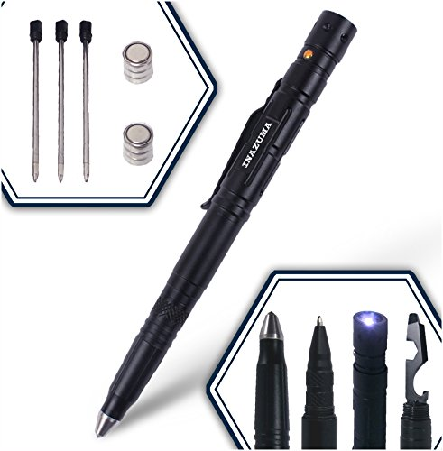 Inazuma Tactical Pen + 3 Ink Refills + 2 Batteries | Military & Police Grade Emergency Self-Defense and Survival Pen With Glass Breaker + Steel Multi-Tool + Tactical Flashlight + Steel Pen Clip