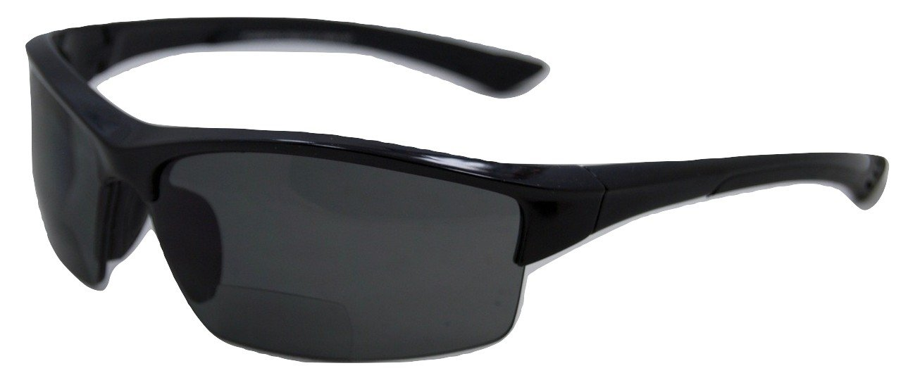 In Style Eyes Magnificent Maui Wrap Polarized Nearly Invisible Line Bifocal Sunglasses Black 1.50 by In Style Eyes