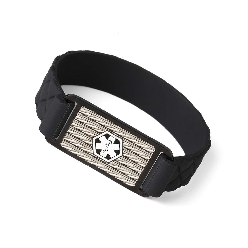 AMOZO JEWELRY Medical Alert ID Bracelet Black Rhombic Silicone Band for Kids Women Men