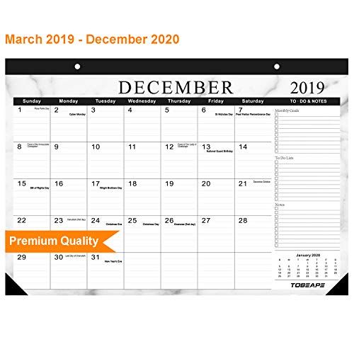 Desk Calendar 2019-2020, Large Monthly Pages 17