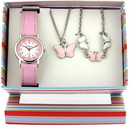 The Olivia Collection Kids Butterfly Watch & Jewellery Gift Set For Girls KS002