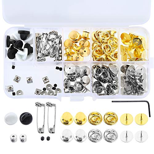(Sntieecr 130 Pieces 5 Styles Metal Pin Backs Butterfly Pin Back Clasp Pin Keeper Backs with Tools and Storage Box)