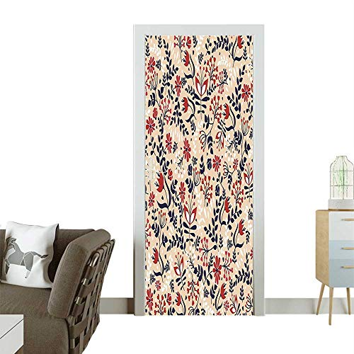 Door Sticker Flowers and Leav Blossoms Print Beige Red White Removable Door Decal for Home DecorW36 x H79 INCH