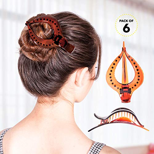 RC ROCHE ORNAMENT Womens Hollow Vintage Elegant Curved Chic Premium Plastic Hair Firm Grip Non Slip Side Slide Fashion Accessory Clamp Clutcher Clip, 6 Pack Count Large Brown (Cute Hairstyles For Short Curly Hair For Teenagers)