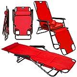 Folding Sun Lounger | Foldable Deck Chair | Reclining Garden Chair | Sundeck with removable upholstery 178 cm + leg rest reclining back + headrest | Red