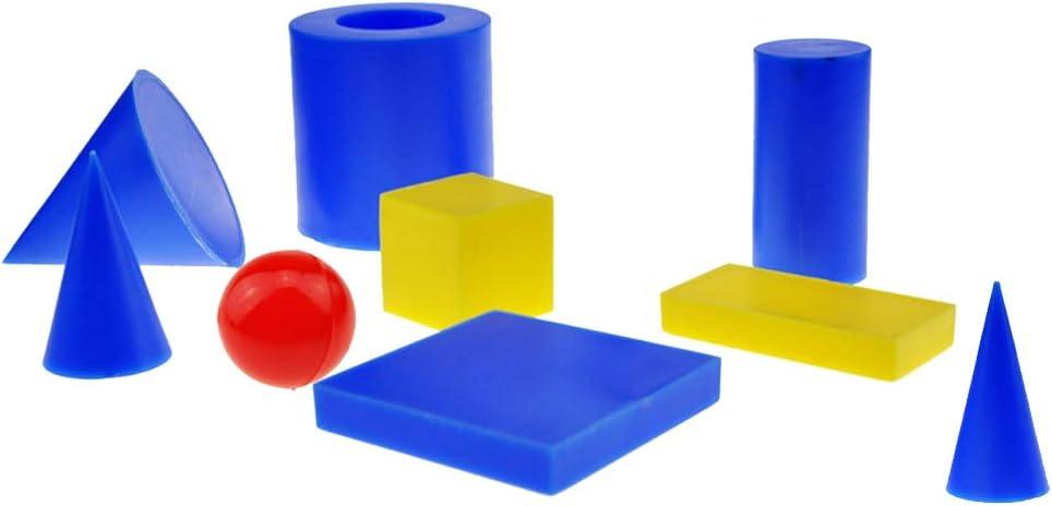 Almencla - 8 Piezas de plástico geométrico sólidos 3-D Formas matemáticas manipulativas Juguete