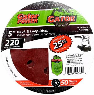 Ali Industries 4340 50-Pack 5-Inch 220-Grit Hook & Loop Sanding Disc