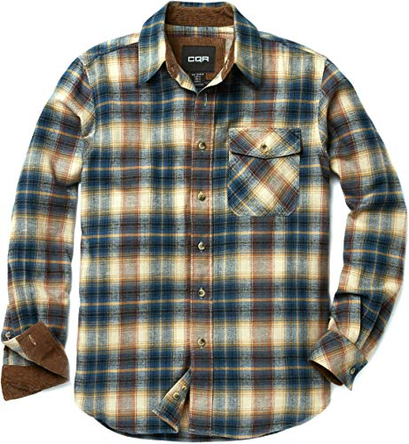 CQR CQ-HOF110-BST_Large Men's Flannel Long Sleeved Button-Up Plaid 100% Cotton Brushed Shirt HOF110