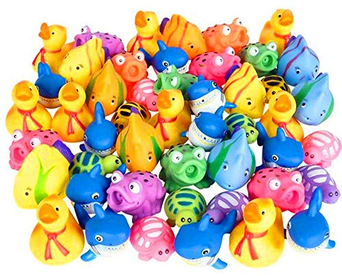 Kicko Squirt Toys Assortment for Kids - 50 Pieces Water Squirting Animals - for Baby Bath, Summer Pool, Aquarium Decorations, Beach Party Favors ()