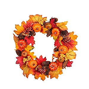 Window-pick Fall Front Door Wreath with Pumpkins, Pine Cones, Maple Leaves- 45cm -Autumn Colors Enhance Home Decor for Christmas Thanksgiving Festival Indoor Outdoor 78