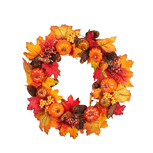 Fall Front Door Wreath with Pumpkins, Pine Cones, Maple Leaves- 45cm -Autumn Colors Enhance Home Decor for Christmas Thanksgiving Festival Indoor Outdoor -