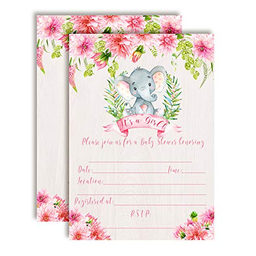 Watercolor Dahlia Floral Elephant-Themed Baby Girl Sprinkle Shower Invitations, 20 5