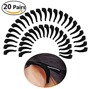 Keepons Black Silicone Anti-Slip Ear Grip Hook For Eyeglasses Glasses Pack Of 20 Pairs