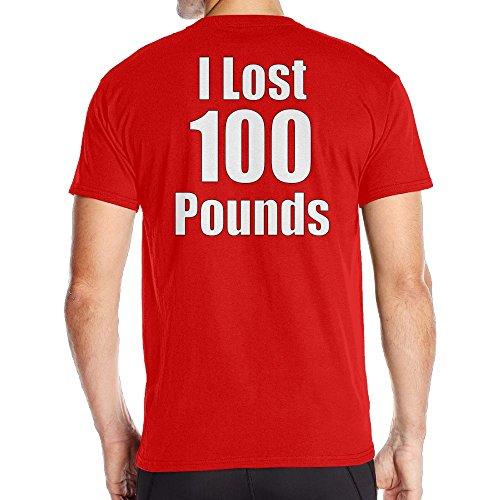Achunlan Men's Short Neck Sleeve I Lost 100 pounds Cotton T-Shirt SizeKey1 ()