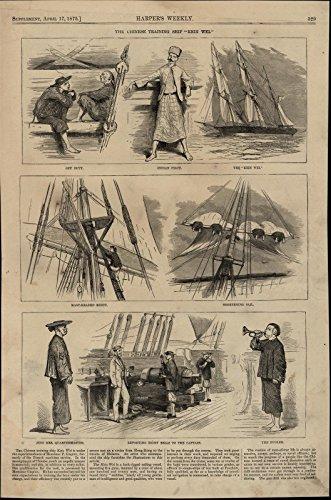 Chinese Training Ship Kein Wei Bugler Pilot Sails 1875 great old vintage print -