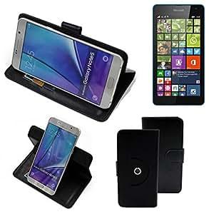 360° Funda Smartphone para Microsoft Lumia 535 Dual SIM, negro | Función de stand Caso Monedero BookStyle mejor precio, mejor funcionamiento - K-S-Trade