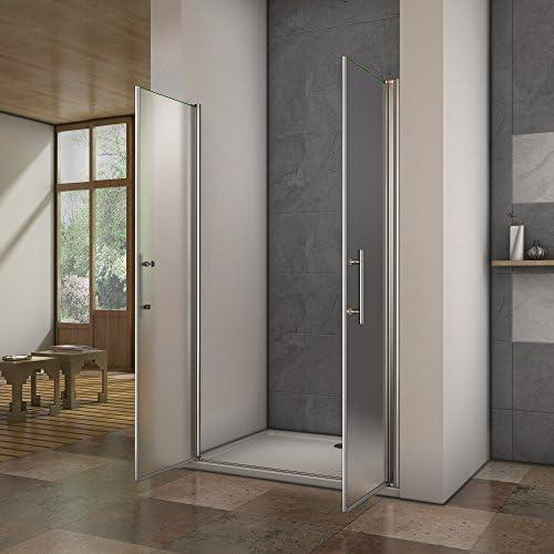 Porte de douche pivotante 100x195cm verre anticalcaire installation en niche