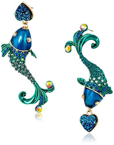 Betsey Johnson Fish Mismatch Drop Earrings