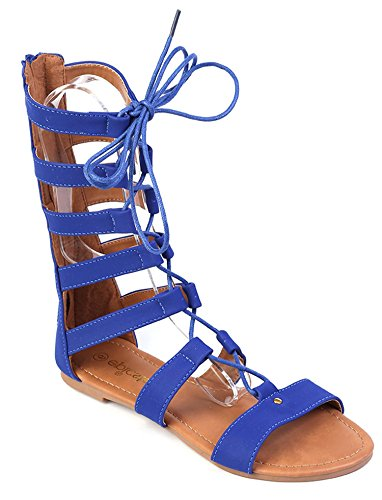 Blue Floral Sandals (Women High Top Strappy Gladiator Sandals Flats Sandals Lace Up Shoes (7, Blue))