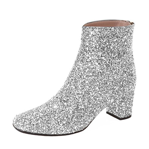 Glitter Boots Ankle - XYD Glitter Low Block Heel Ankle Boots Sequins Round Toe Dress Booties Shoes with Zips Size 11 Silver