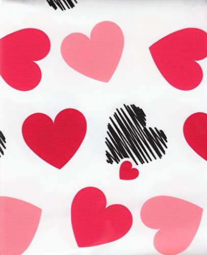 Happy Valentine's Pink Red Black Scribble Sketch Toss Hearts Vinyl Tablecloth - 60x84