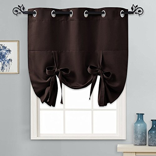 "PONY DANCE Small Blackout Blind - Heavy Duty Tie Up Window Valance Roman Shade Balloon Curtain Grommet Top for Kitchen/Bathroom/Bedroom/Bay, 1 Piece,46"" x 63""(W x L),Brown"