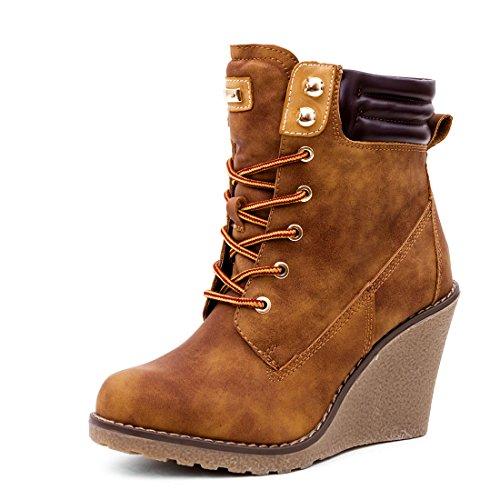 Marimo Stylische Damen Worker Boots Schnür Stiefeletten mit Keilabsatz Camel