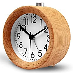 HaloVa Alarm Clock, Creative Fashion Silent Non Ticking Sweep Second Hand Bedside Desk Wooden Alarm Clock with Nightlight for Bedroom, Battery Operated