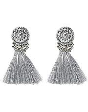 Colorful Beads Thread Ethnic Charms Eardrop Long Tassel Dangle Drop Earrings Silver