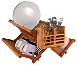 Totally Bamboo ECO Dish Drying Rack Utensil Holder + Organizer, Beautiful, Strong & Durable - 100% Bamboo, THE Premium All Natural Alternative!