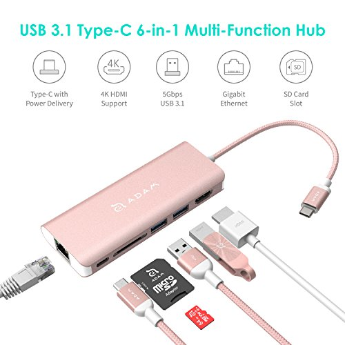 USB Type C Hub Ethernet and HDMI Adapter, with SD Card Reader, Power Charging, 2 Type A Port Compatible for Mac and Windows - Multi Use Docking Station Dongle by Adam Elements - Rose Gold