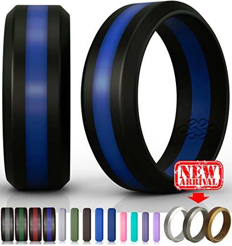 Blue Wave Silicone (Silicone Wedding Ring by Knot Theory (Black / Blue Line, Size 9.5-10)x2605;8mm Band for Superior Comfort, Style, and Safety)