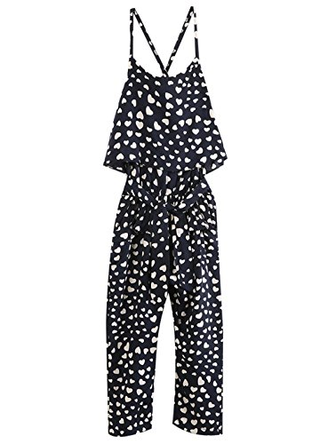 Infant Baby Girl Lovely Floral Love Heart Hammock Belt Jumpsuits Bodysuit Outfit (6T, Black) (Hammock Height)