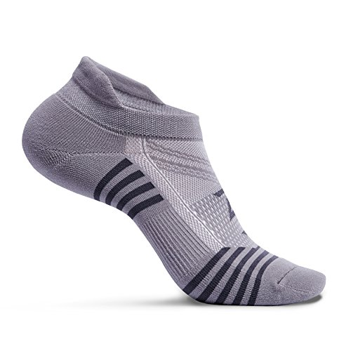 Zeropes Anti-Blister No Show Running Socks (1 Pair) (Large, Grey)