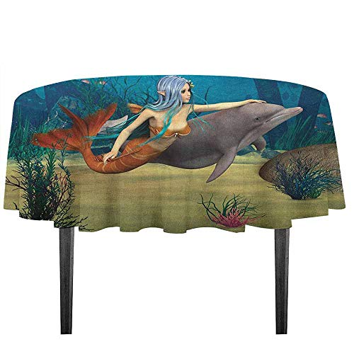 kangkaishi Mermaid Washable Tablecloth Fairy Marine Cute Mermaid Girl and Dolphin Fish Swimming Underwater in Blue Ocean Image Desktop Protection pad D59.05 Inch Multi