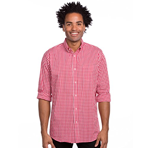 Men's Long Sleeve Button Down Stretch Fit Gingham Plaid Shirt (Red/White Plaid, Large)