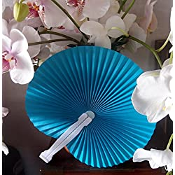 "Quasimoon PaperLanternStore.com 9"" Turquoise Chinese Folding Accordion Paper Hand Fan for Weddings (10 Pack)"