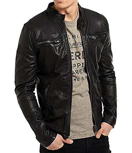 AMANATI Mens Biker Jacket Slim FIT Lamb Skin Geniune Leather