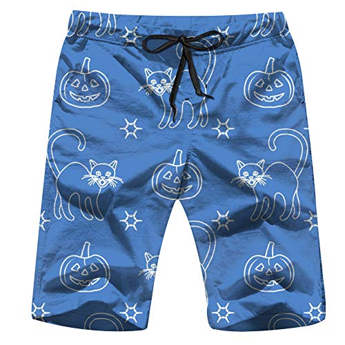 Halloween 2019 Pumpkins Holidays Mens Board Shorts Beach Lightweight Home Casual Shorts Swim-Trunks with Quick Dry L for $<!--$19.88-->