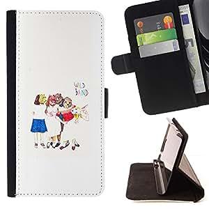 Momo Phone Case / Flip Funda de Cuero Case Cover - Arte para niños Blanco Minimalista - HTC One M7