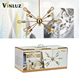 VINLUZ Modern Sputnik Chandelier 12 Light Brushed
