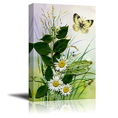 Premium Creation, Grand Print, Wild Flowers and a Butterfly Floral Art Wall Decor