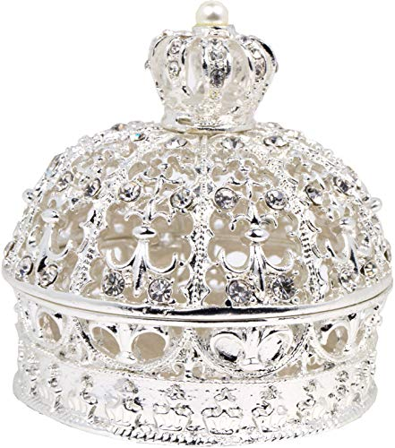 VI N VI Silver Rhinestone Pearl Royal Crown Jewelry Box, Trinket Box | Beautiful Collectible Figurine and Decorative Jewelry Display, Holder, and Organizer