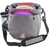 Disc Living Disc Golf Bag | Frisbee Golf Bag | Lightweight Fits Up to 10 Discs | Belt Loop | Adjustable Shoulder Strap Padding | Double Front Button Design | Bottle Holder | Durable Canvas (Grey)
