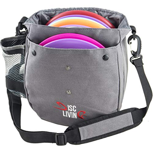 Disc Living Disc Golf Bag | Frisbee Golf Bag | Lightweight Fits Up to 10 Discs | Belt Loop | Adjustable Shoulder Strap Padding | Double Front Button Design | Bottle Holder | Durable Canvas (Grey) (Best Way To Throw A Frisbee Golf Disc)