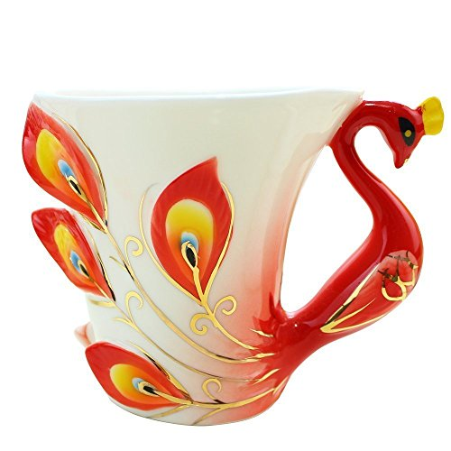 gangnumsky-Peacock Coffee Cup Ceramic Creative Mug 3D Color Enamel Porcelain Saucer Spoon Coffee Tea Sets for friend Gift For Show Orange